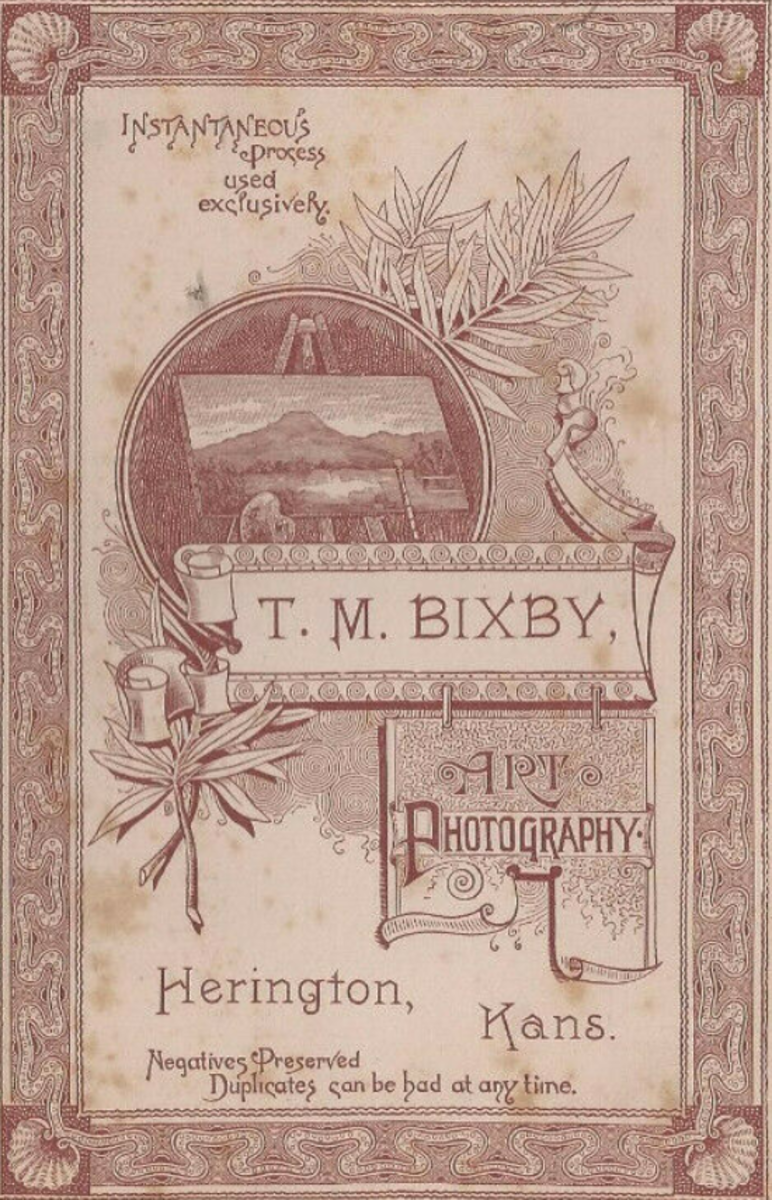 T.M. Bixby - imprint from the back of a studio card. Herrington, KS