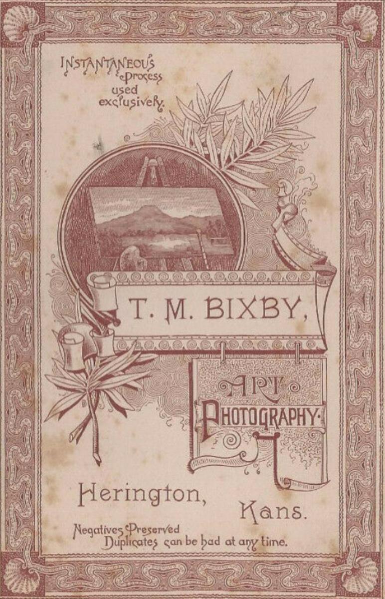 T.M. Bixby - imprint from the back of a studio card. Herrington, KS