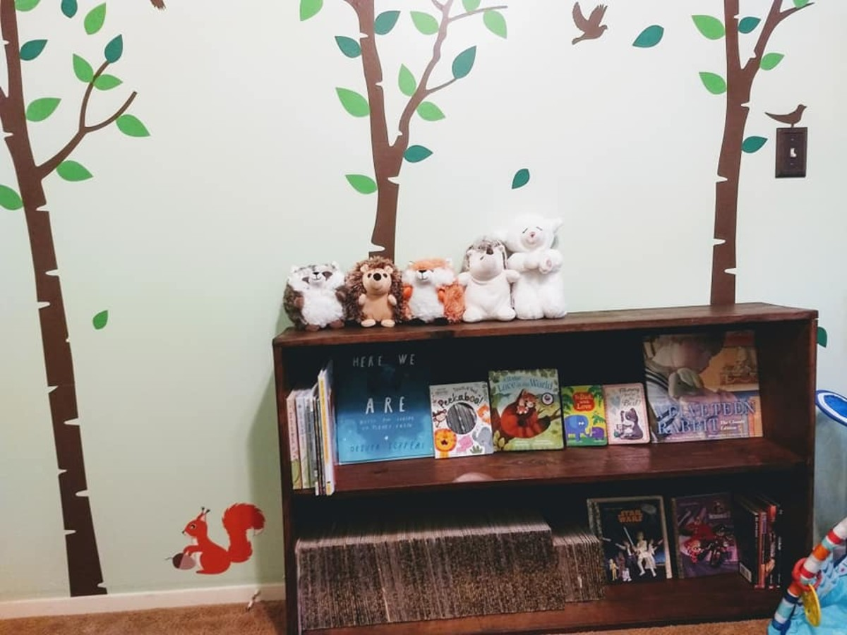 Wall decals and bookshelf.