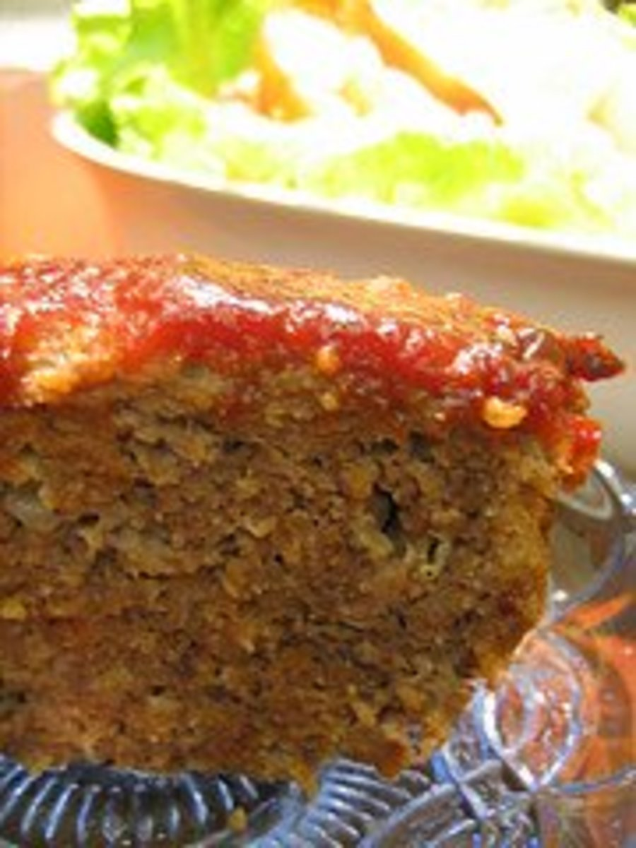 Meatloaf with the classic ketchup topping.