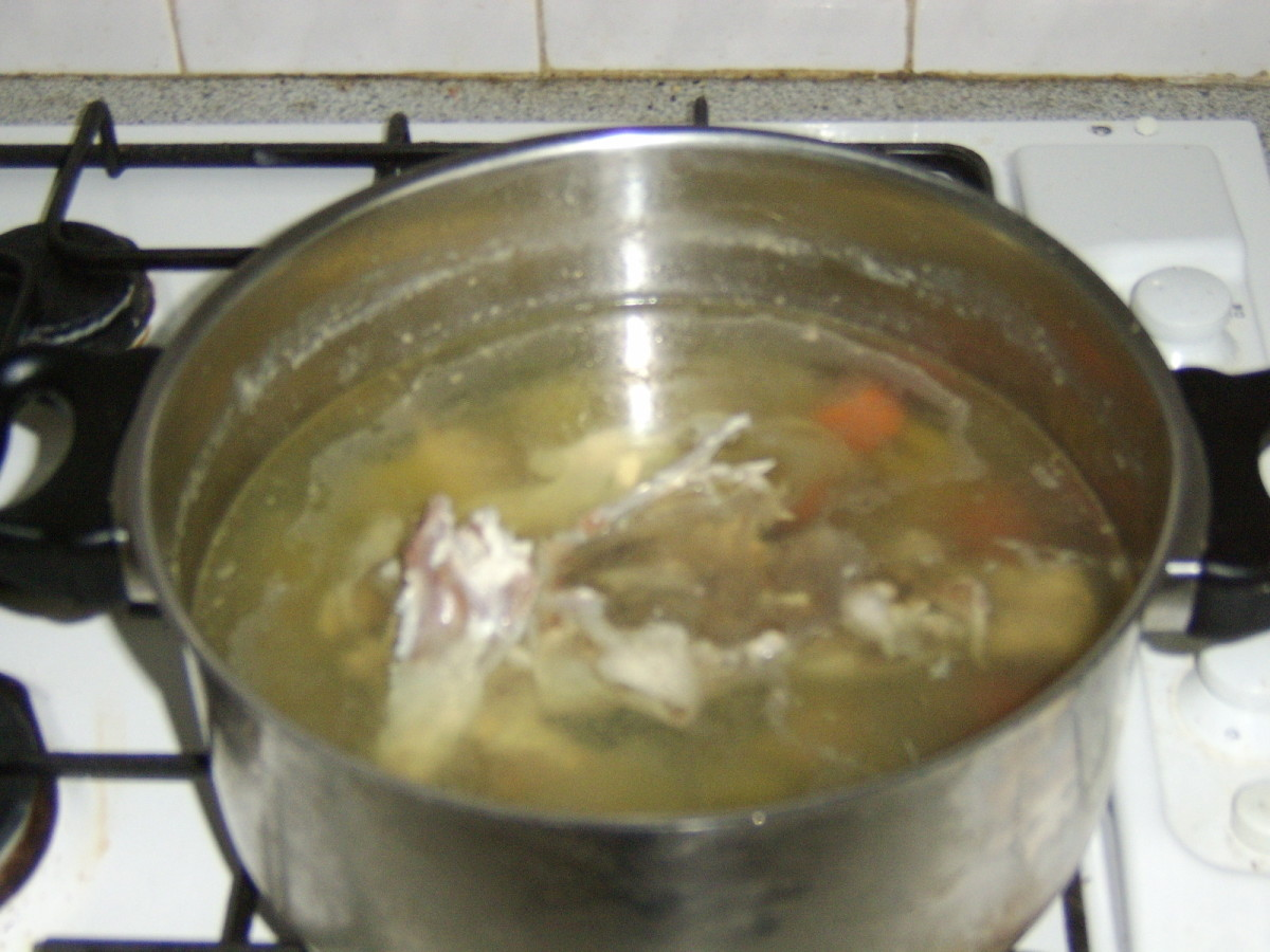 Chicken Stock in Preparation (The Next Morning)