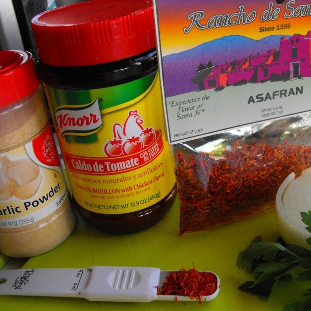 More ingredients: garlic powder, tomato bouillon, saffron, onion, and cilantro.