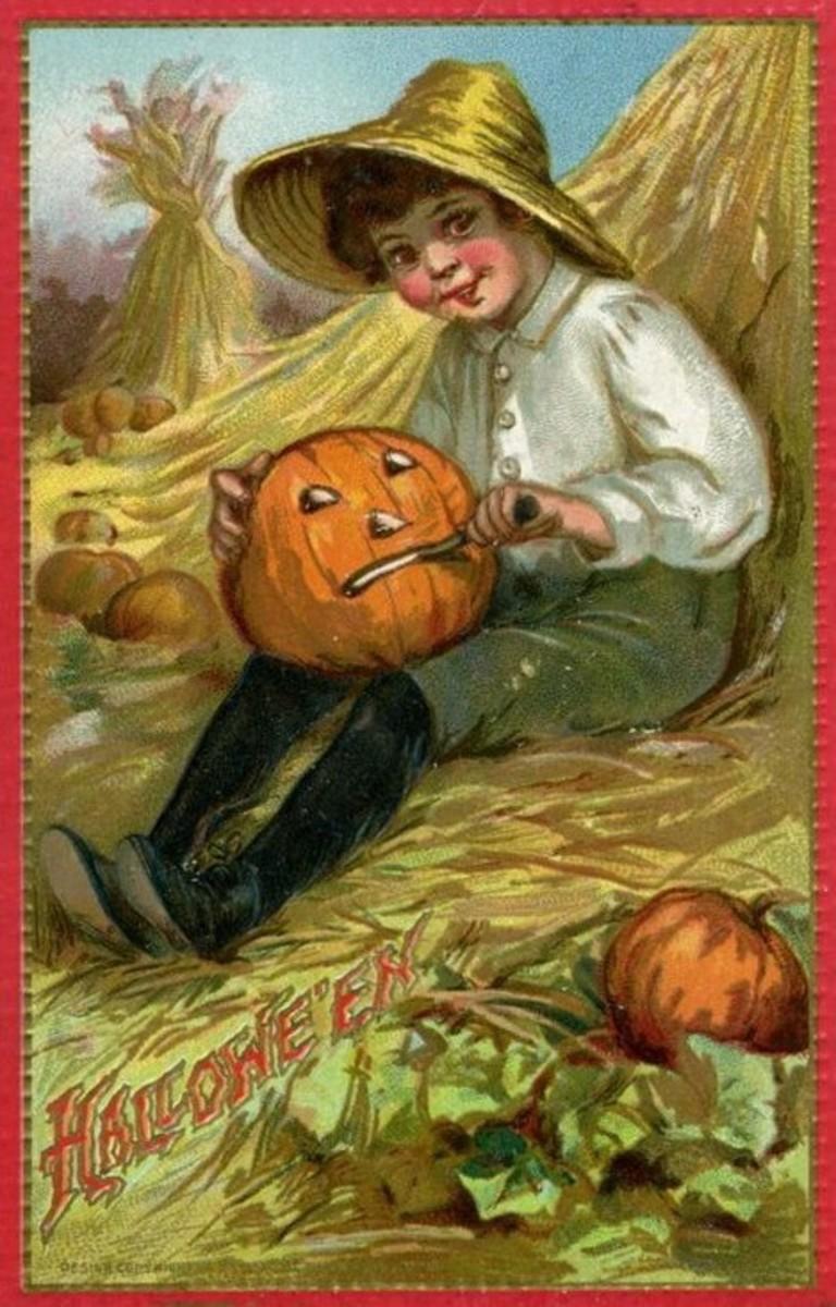 Vintage boy and pumpkin
