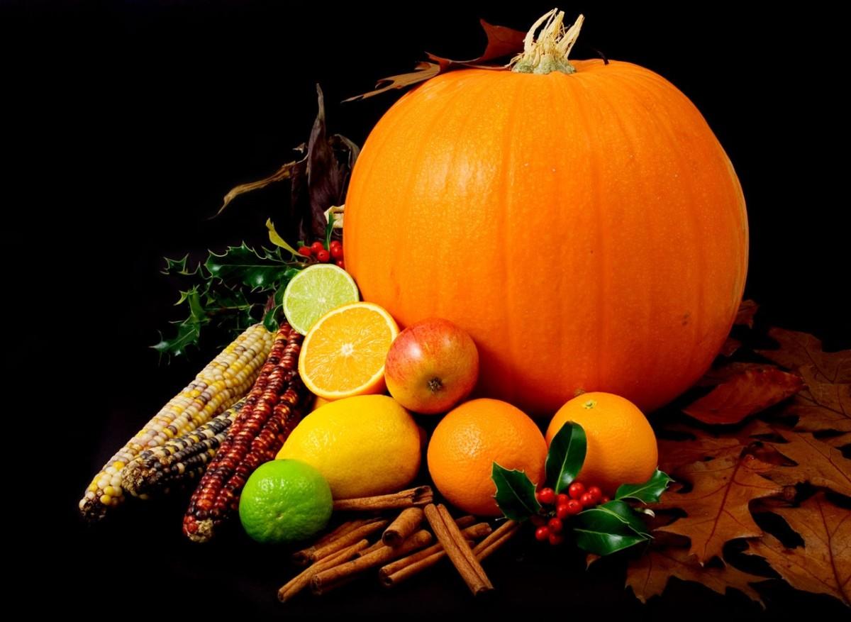 Pumpkin, corn, and fruit