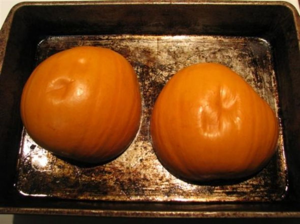 Bake the pumpkins for about 45 min to 1 hour. Test for softness. Let them cool and scrape the flesh out with a large metal spoon.
