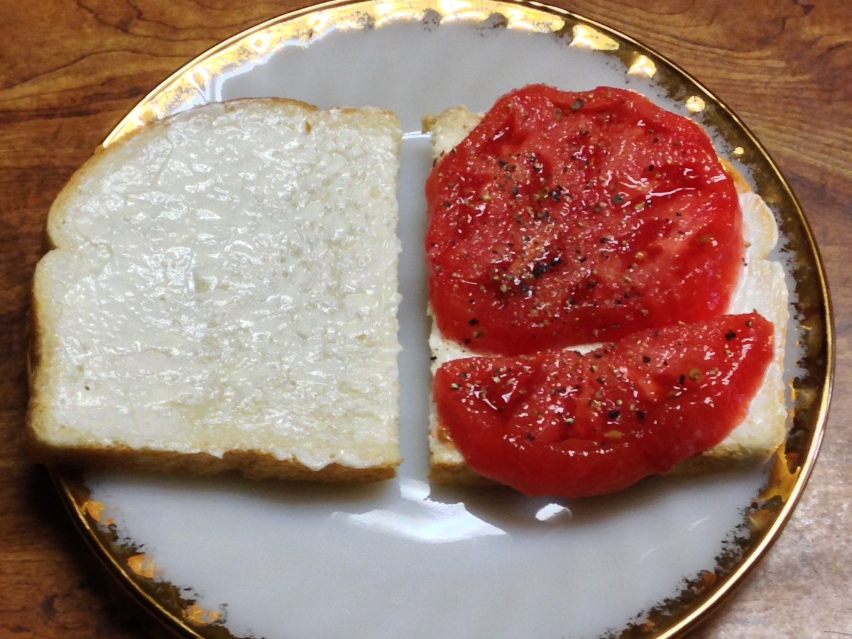 Tomato sandwich made with Dukes Mayonnaise on Sourdough bread