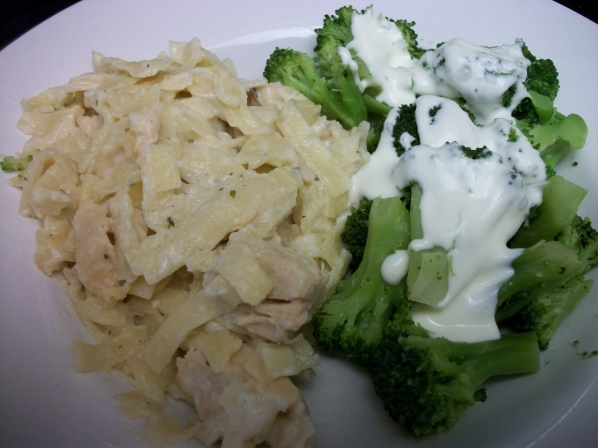Broccoli with mock Hollandaise, made with mayo and lemon juice
