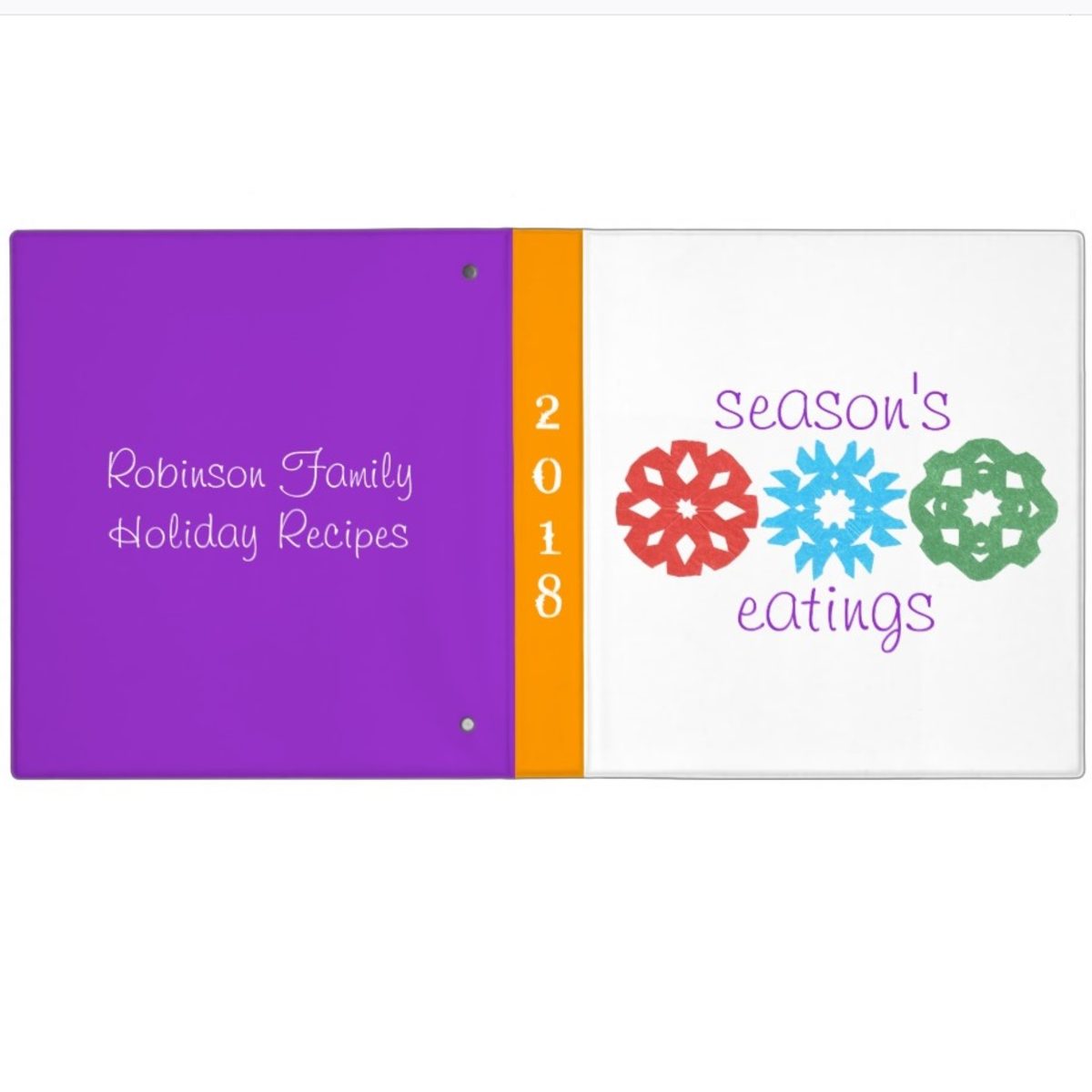 Customize a candy-colored binder for treasured recipes. For source info, see next design.