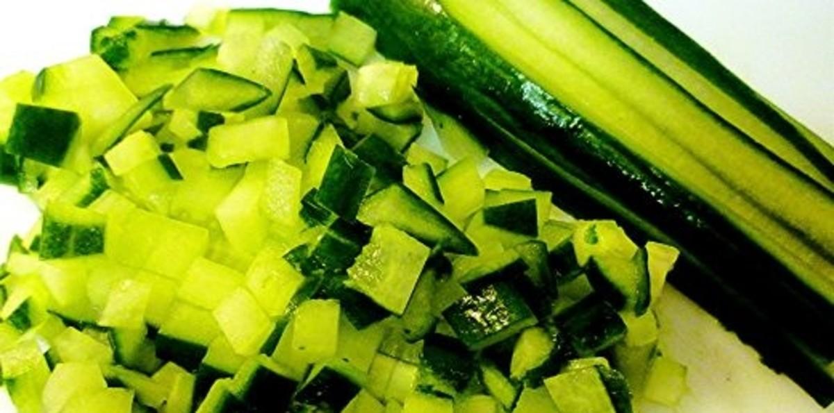 Diced English cucumber