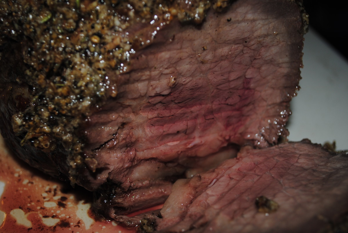 Perfectly cooked! The perfect medium rare, sirloin tip roast.