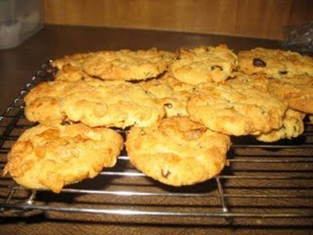 Corn Flake biscuit laid out to cool!