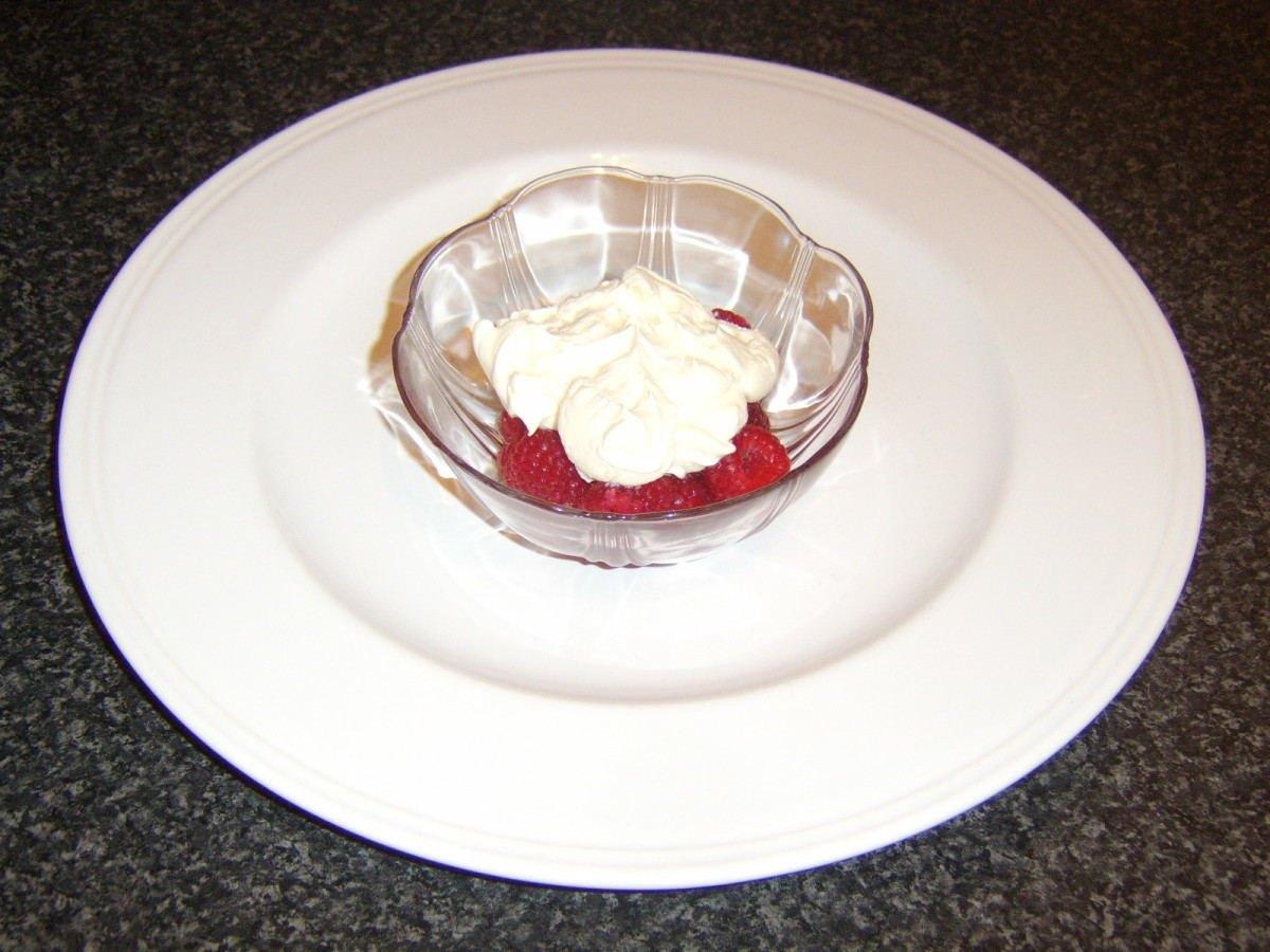 Honey and Cream Top the Raspberries