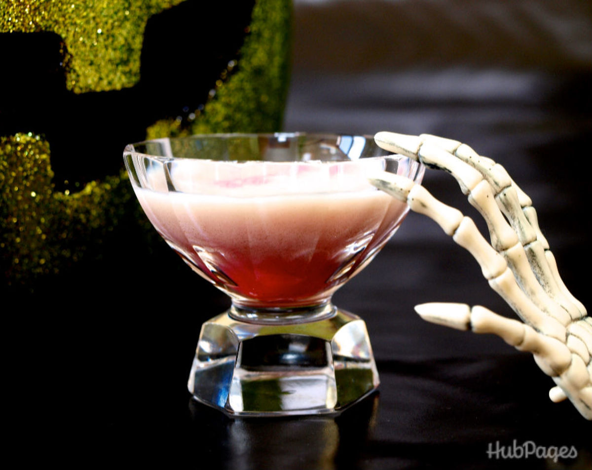 This strong layered shot, with 151-proof rum, is called the Bloody Psycho.