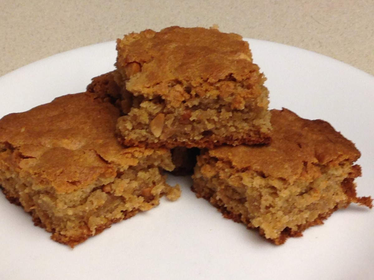 Chewy Peanut Butter Brownies made with chunky peanut butter.