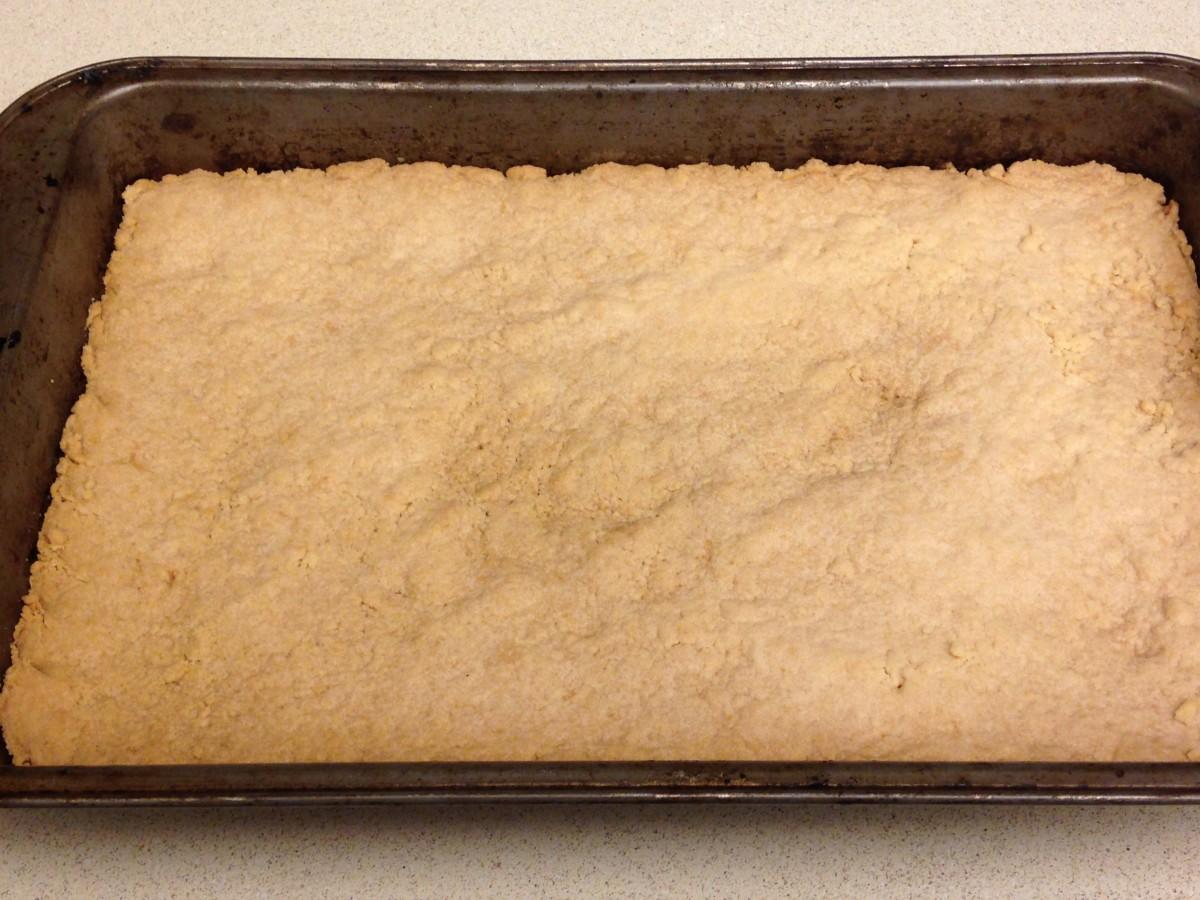 Press flour mixture into 7 X 11 pan and bake 25 minutes