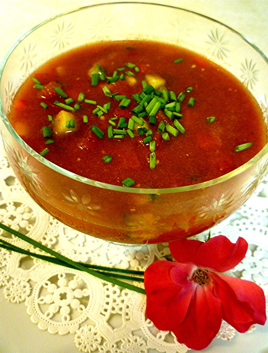 Serving of Gazpacho topped with chives * Photo by Peggy W