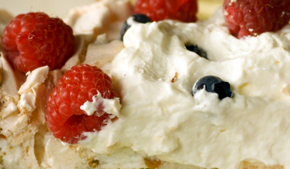 Fresh summer berry pavlova
