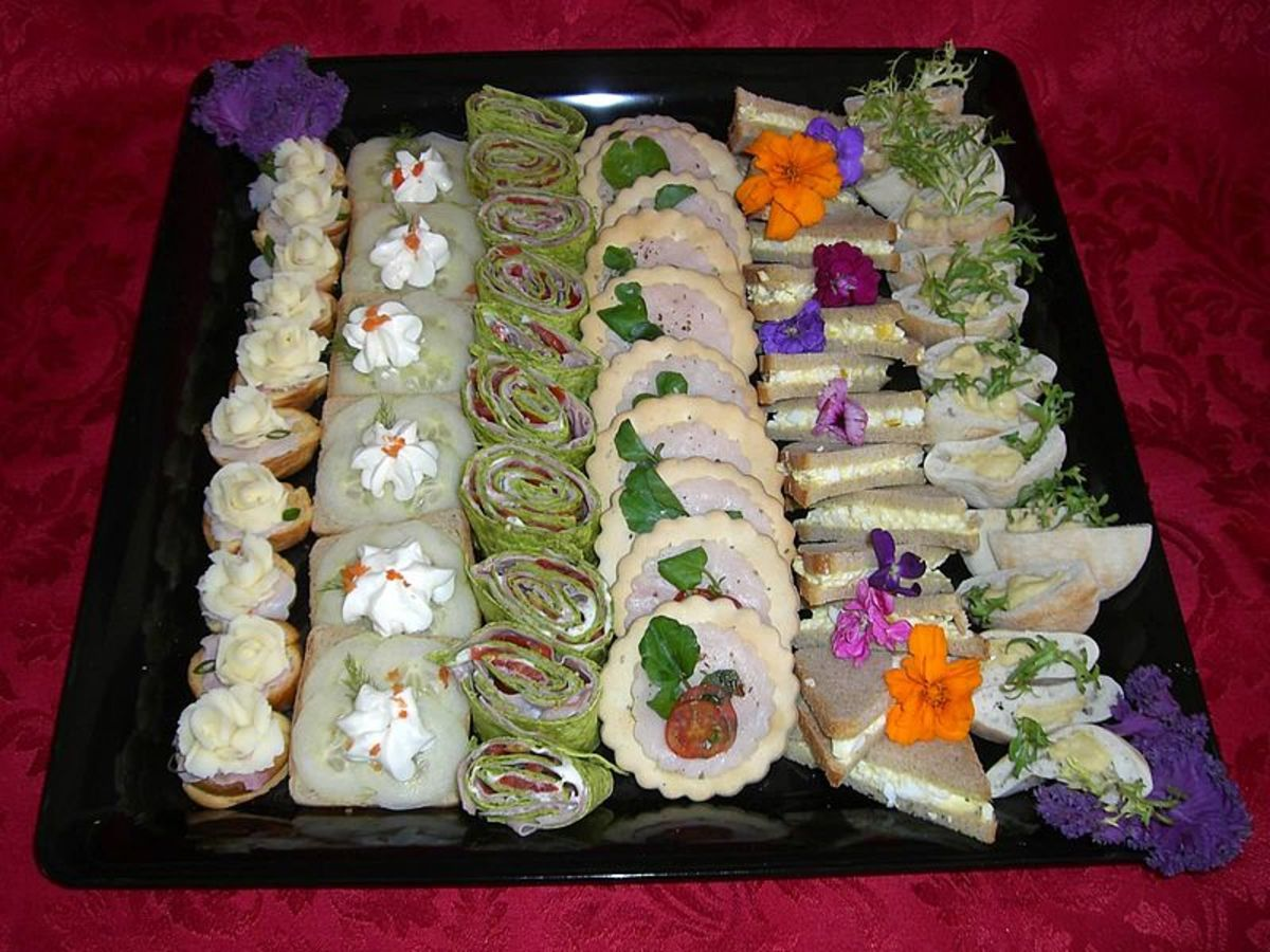 Canapes and finger sandwiches