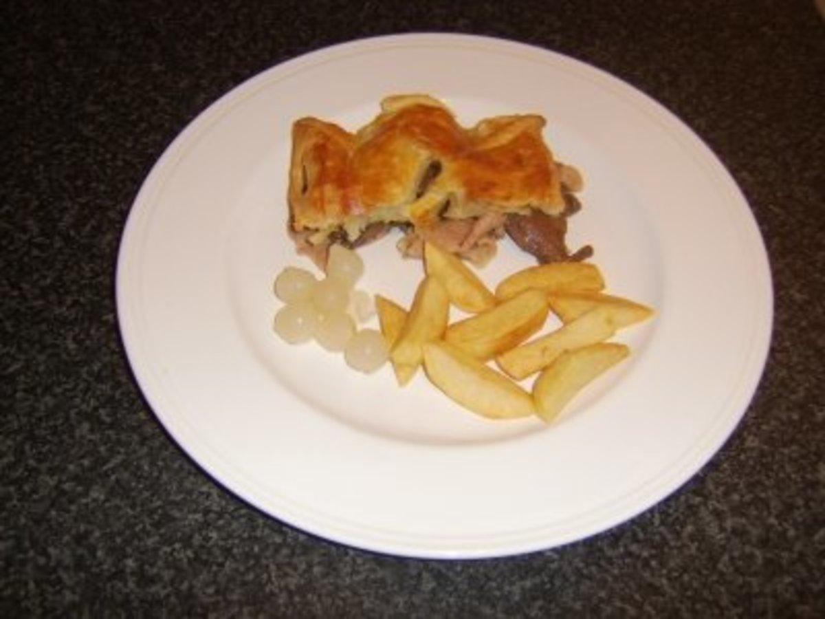 Liver and Bacon Puff Pastry Pie with Chips and Pickled Onions
