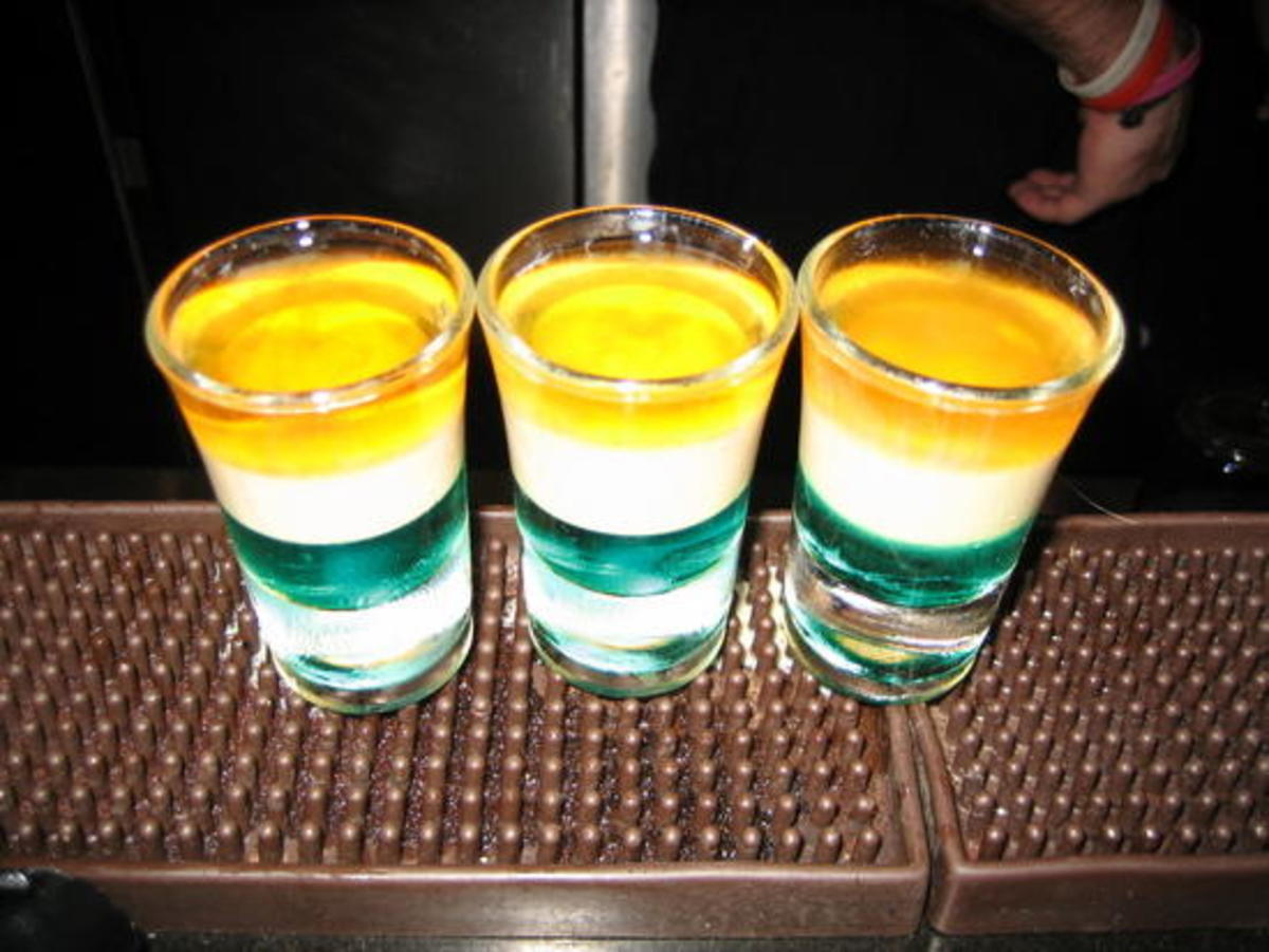 A fun St. Patrick's Day shot in the colors of the Irish flag.