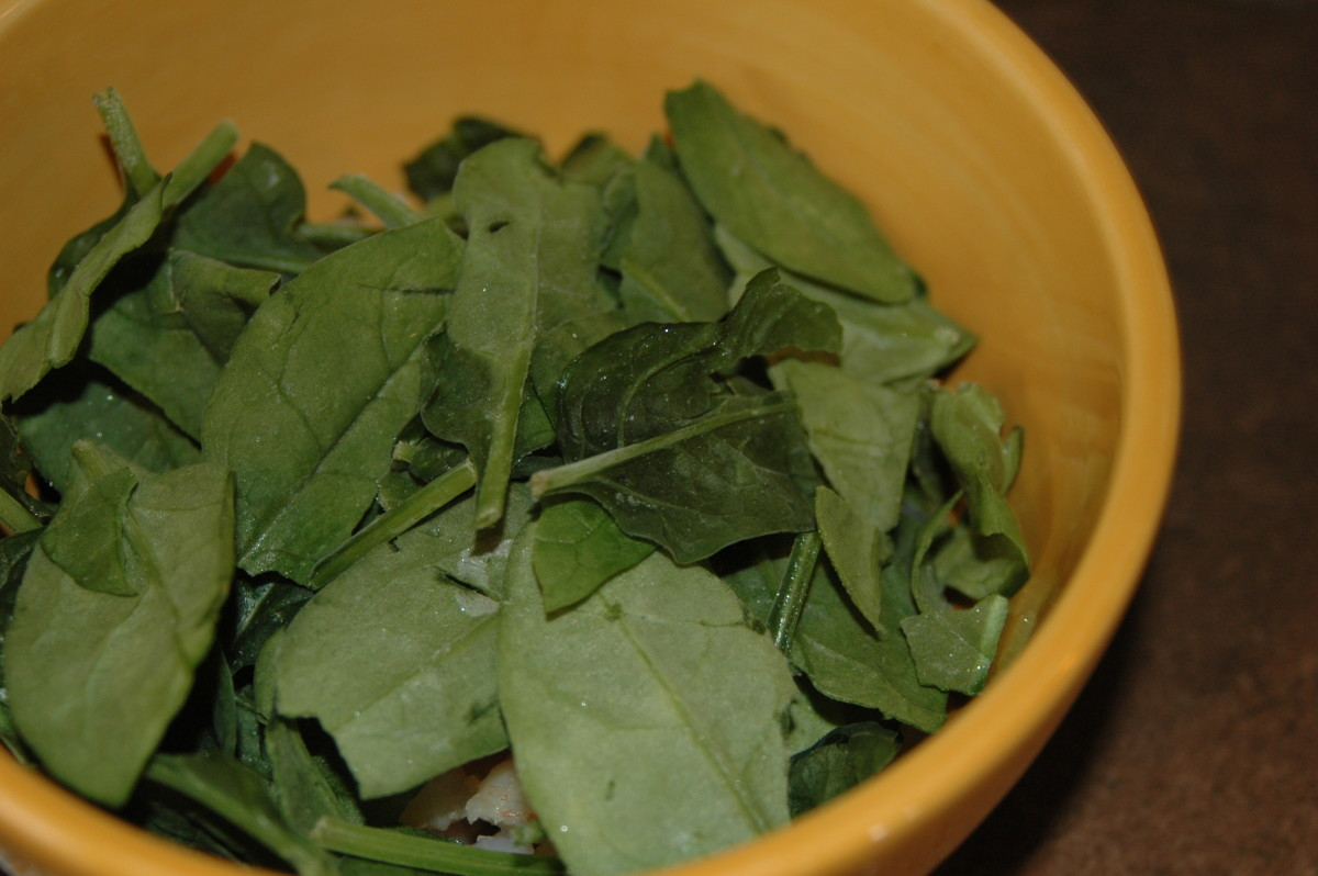Frozen leaves of spinach thawing