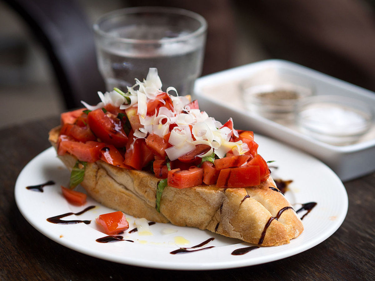 Bruschetta with tomato salad.