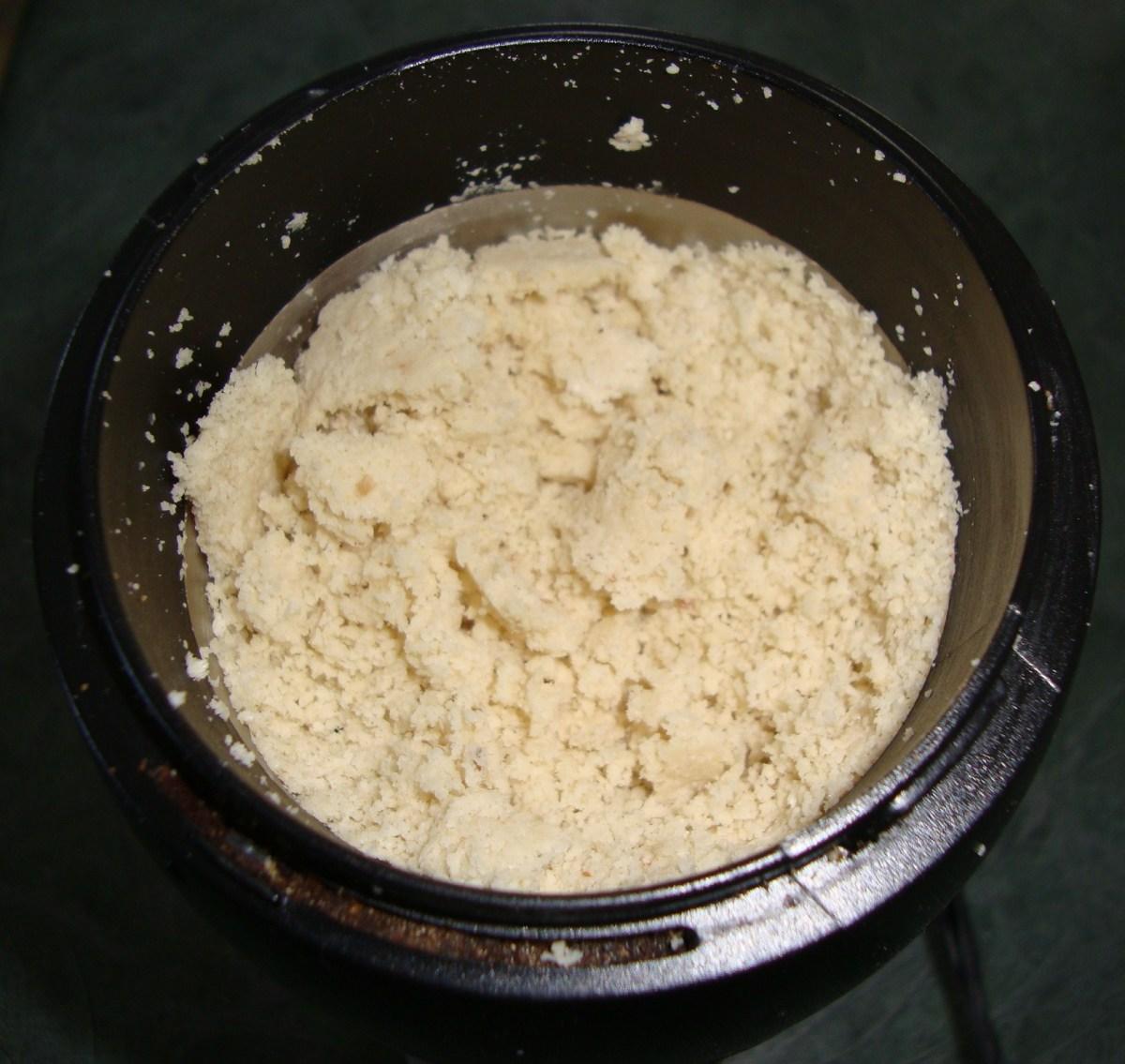 Ground sesame seeds turn into a creamy meal-like substance.