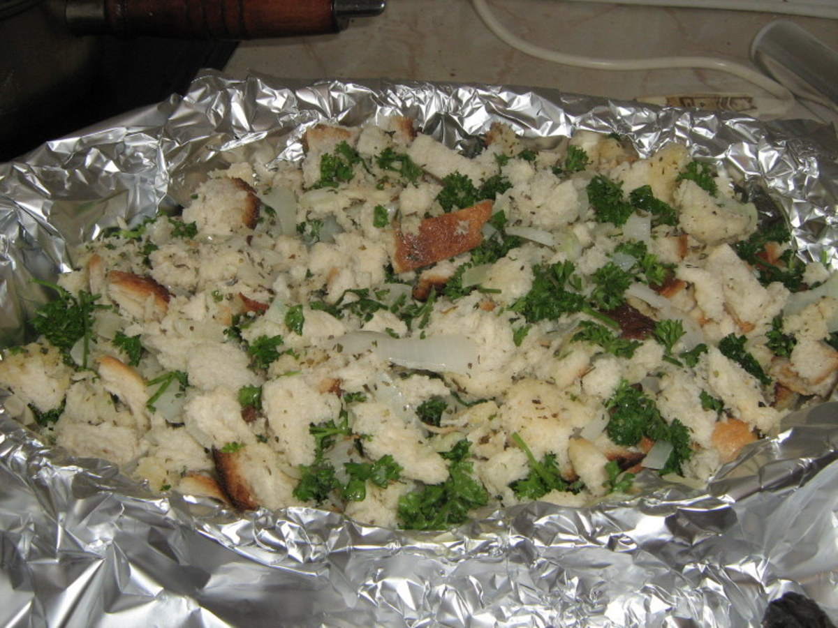 Stuffing on Chicken Pieces
