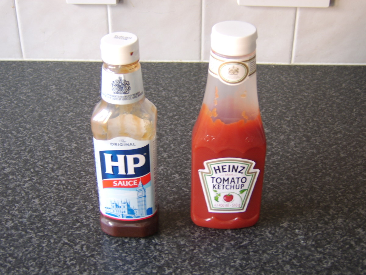 Traditional Scottish breakfast roll condiments: HP sauce and ketchup.