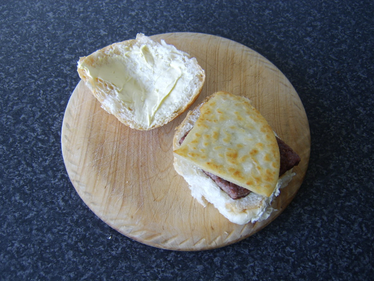 A roll and sausage and tattie scone