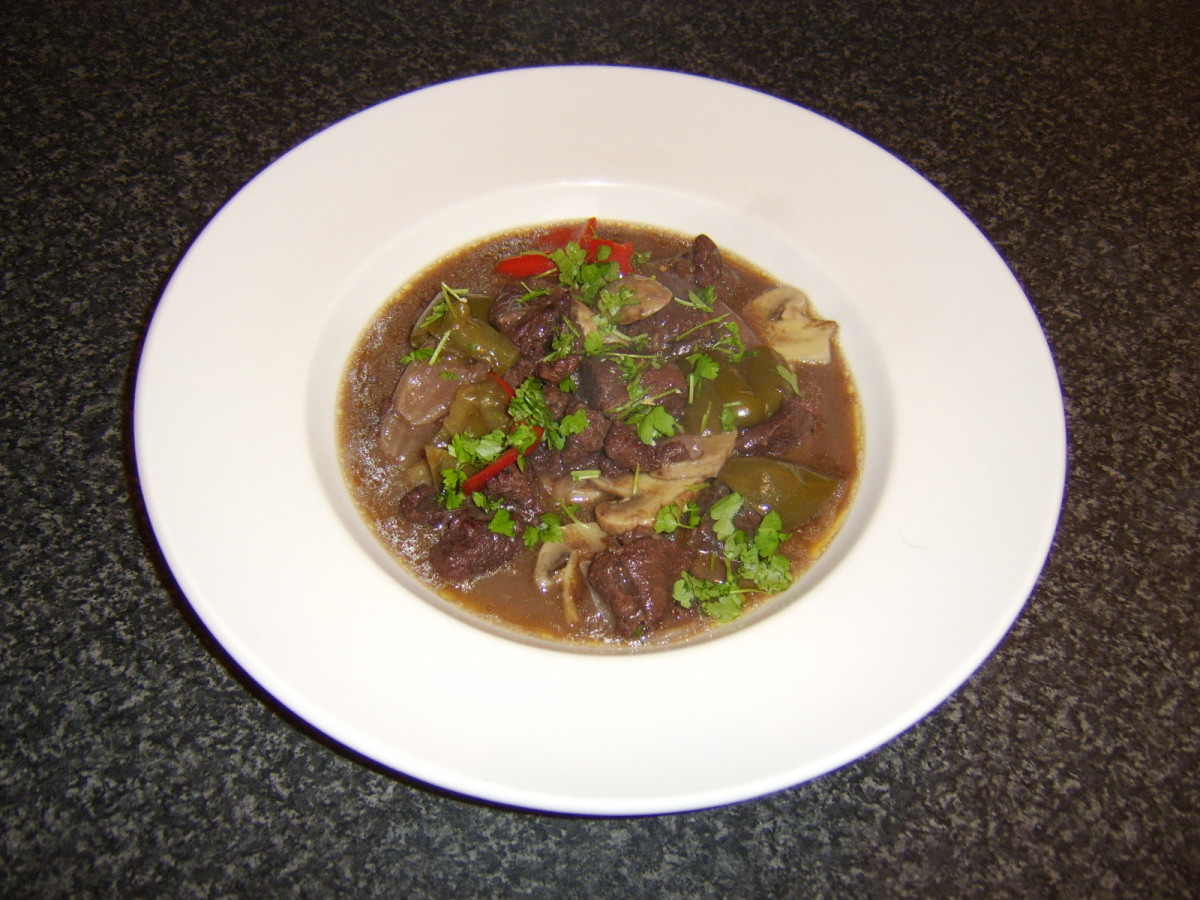 Venison Stew with Red Wine, Bell Peppers and Mushrooms