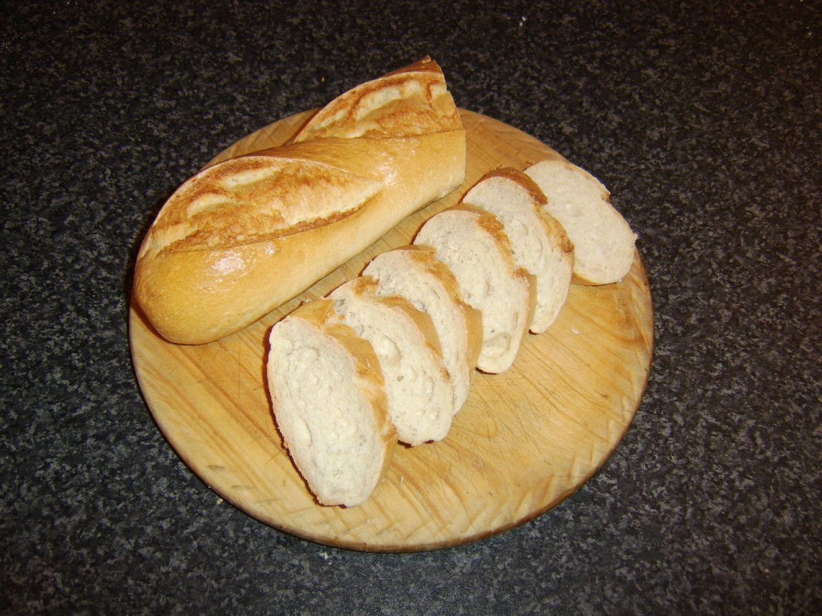 Slicing the bread for garlic toast