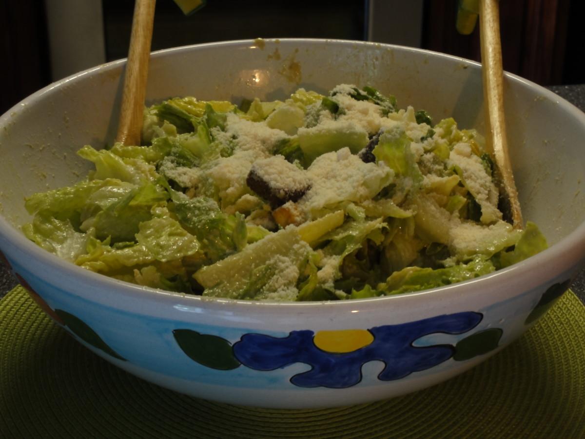 Delicious Caesar salad ready to serve