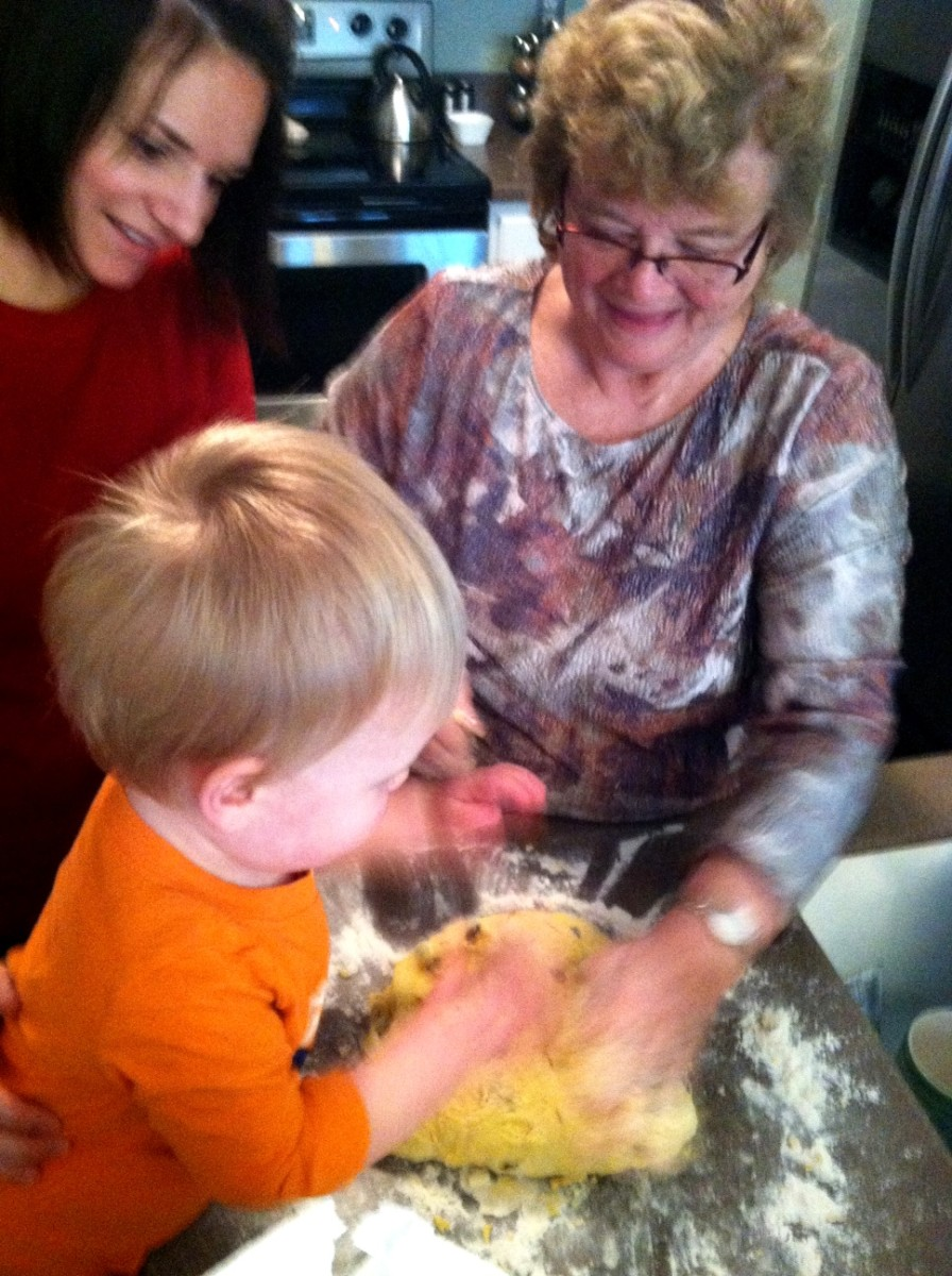 Making Easter babka with kids teaches them family traditions. Here are three generations helping to make a traditional Easter babka.