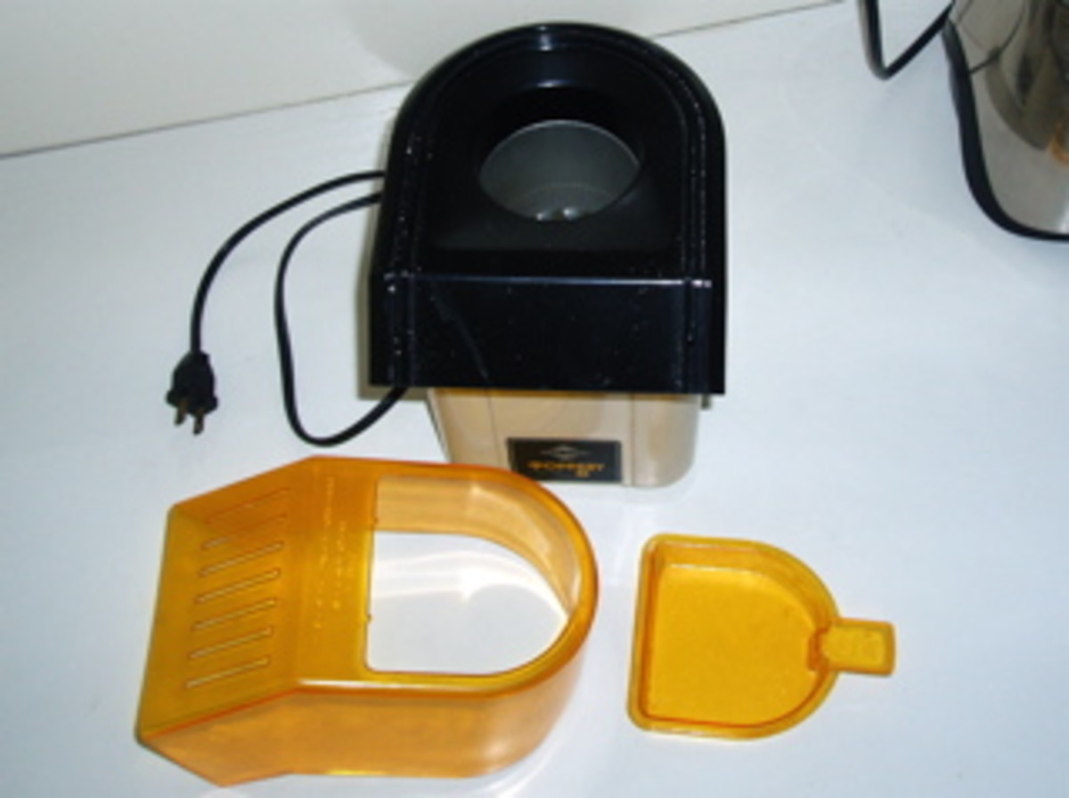 Air Popper Parts: Container, chute, butter/measuring tray