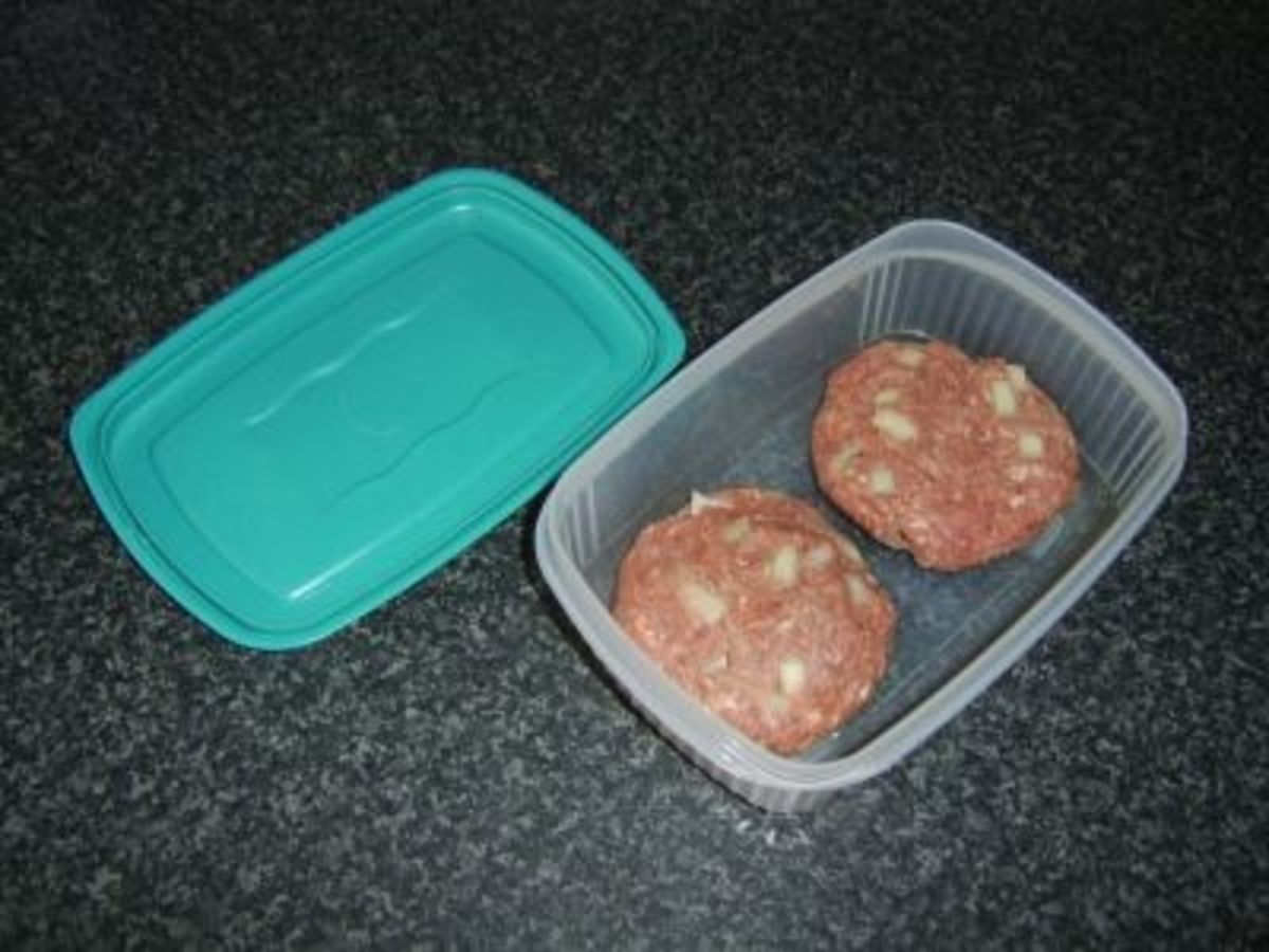 Homemade beef burgers ready to be fried