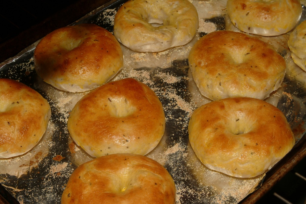 Bake bagels for about 20 minutes in the center of a 400°F oven.