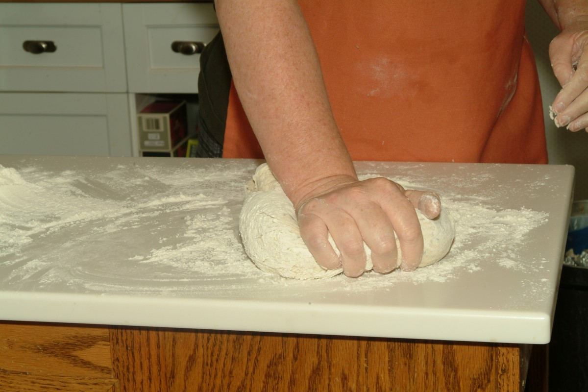 Knead until dough is smooth and elastic, but stiffer than most other bread doughs.