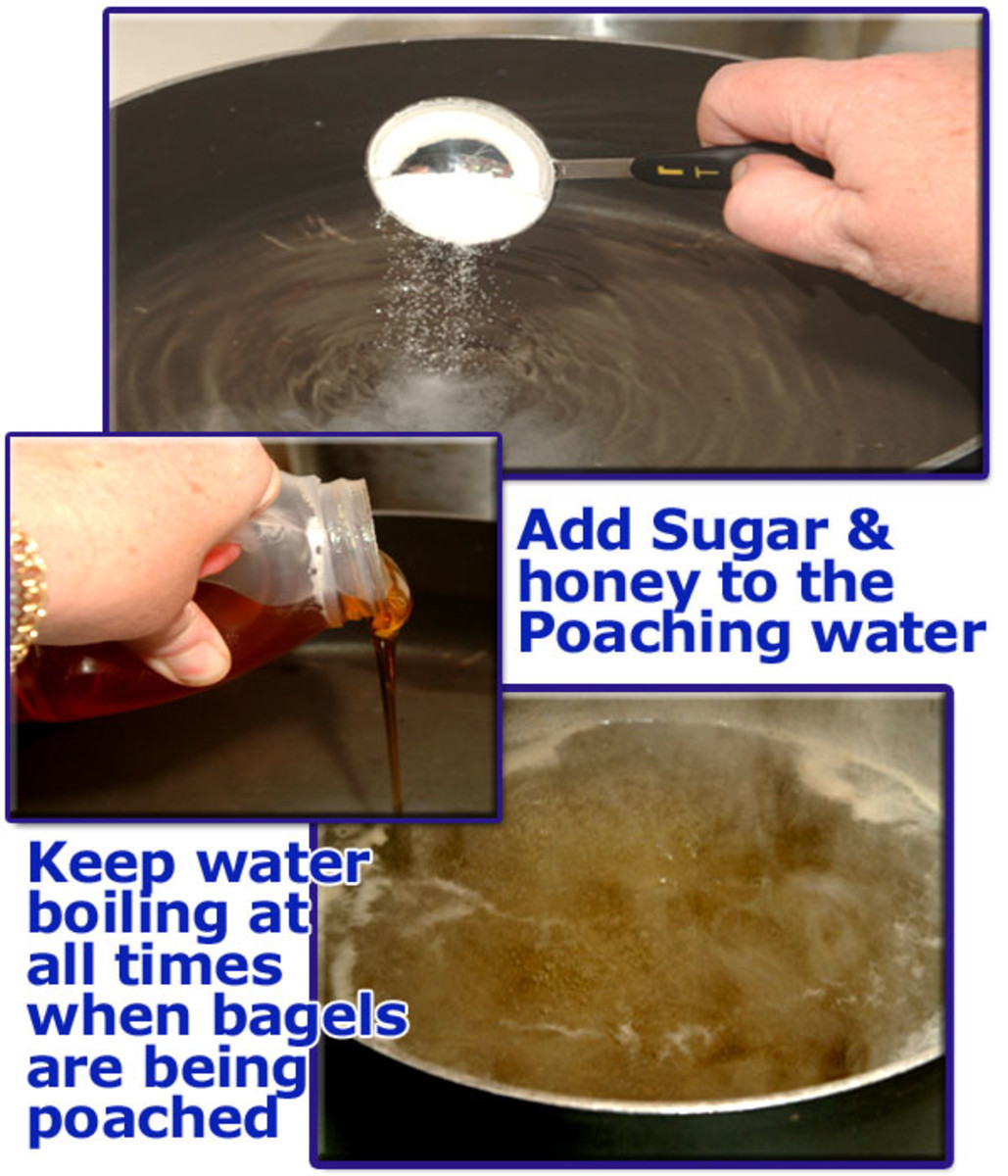 This is the secret bakers don't want you to know! By adding sugar and honey to the poaching liquid for homemade Bagels, you create a crisper and slightly sweet crust during the baking process.