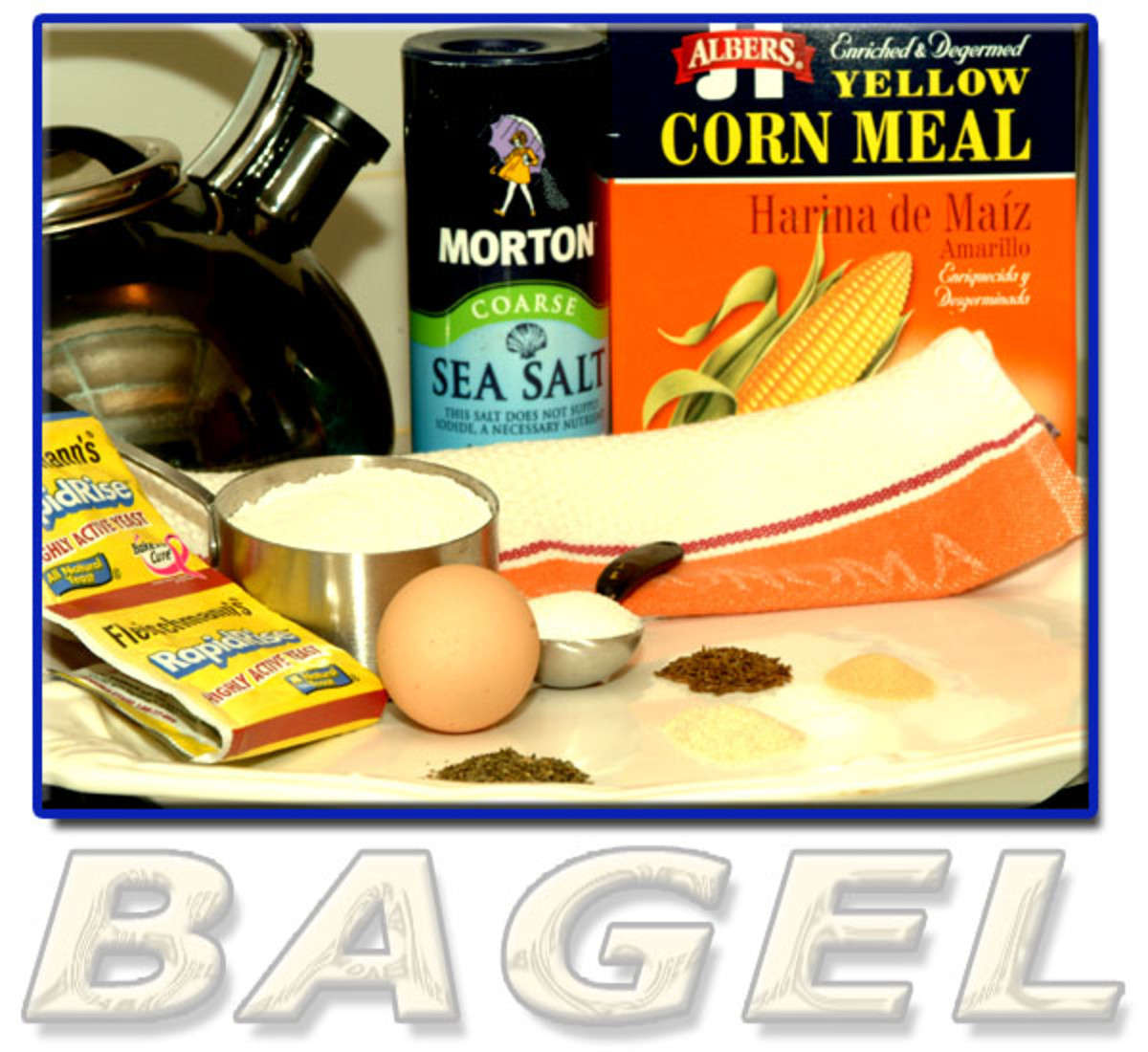 Ingredients for homemade bakery-style bagels