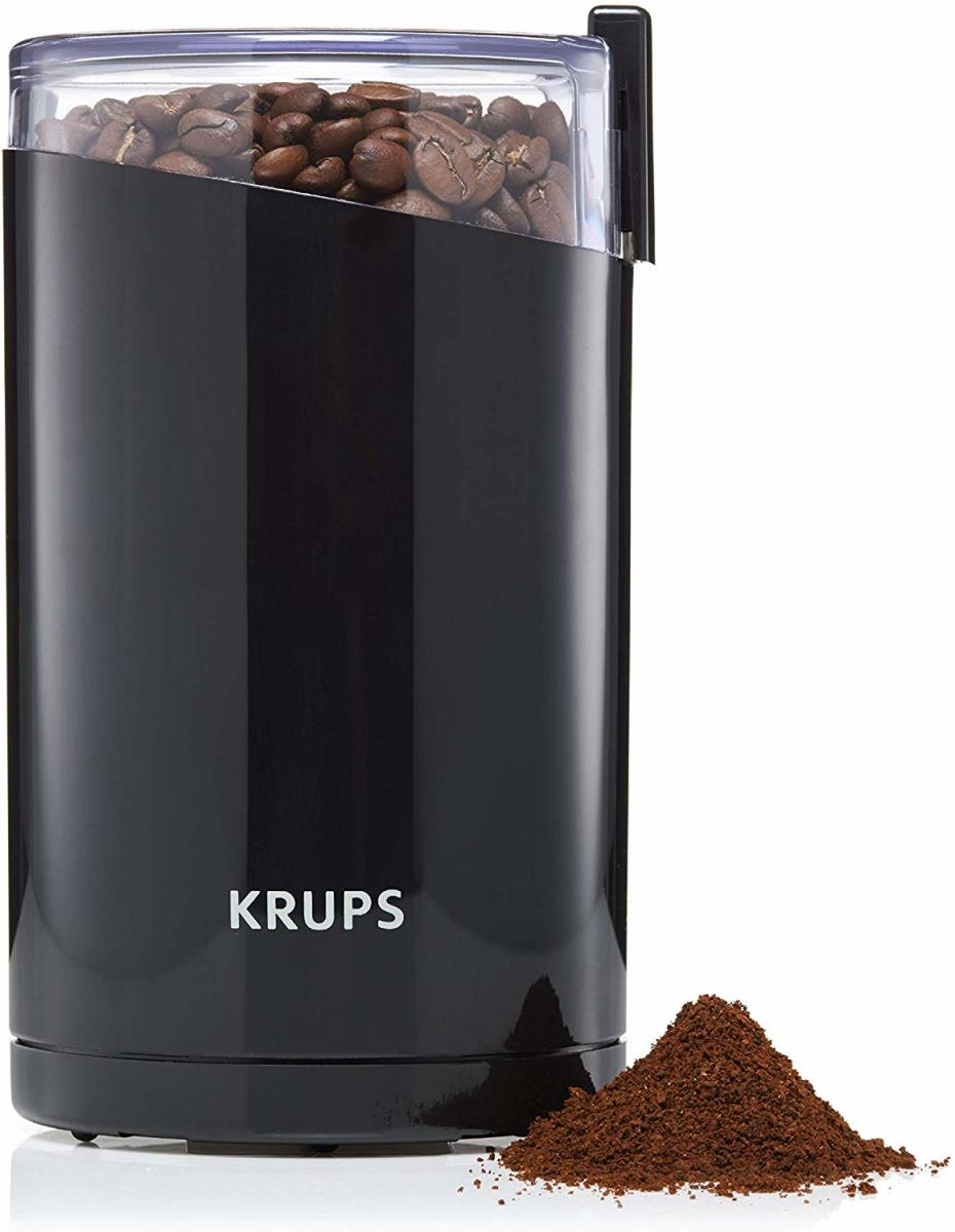 The Krups F203. Grinding your own coffee is the best way to obtain a brew with a full flavor, you should never buy ready ground coffee unless you have to.  Grinding right before you brew is generally the best way to make a full flavor beverage.