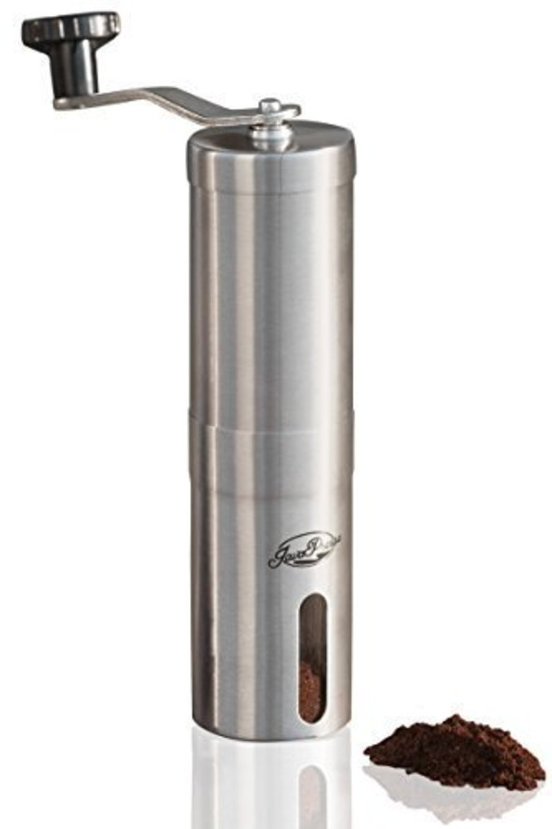 I just love the sleek design of the JavaPresse.  As it is hand-cranked and there is no motor, you can take it anywhere: traveling, camping, on the road. Unlike the Krups it has settings to help you get the precise size of grind that you require.