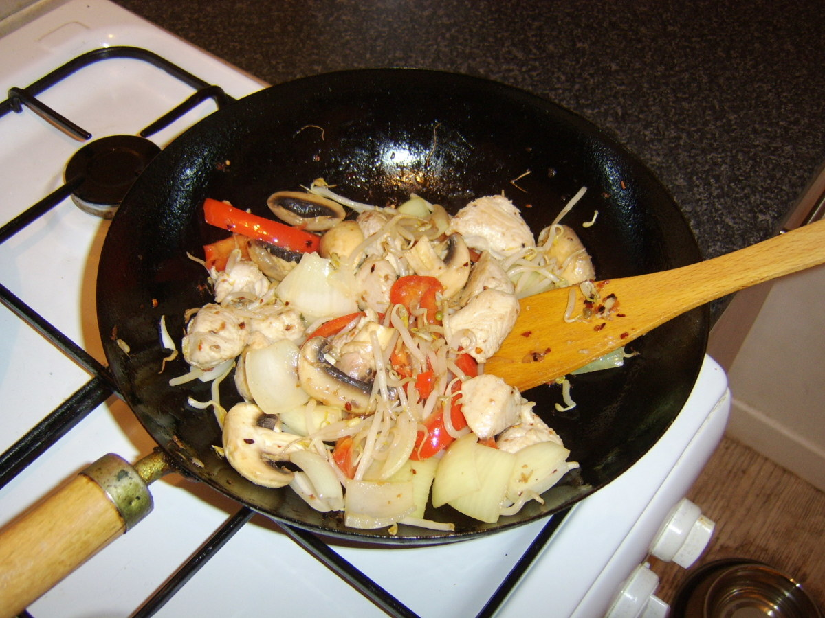 The turkey and vegetable stir fry is just about ready to serve