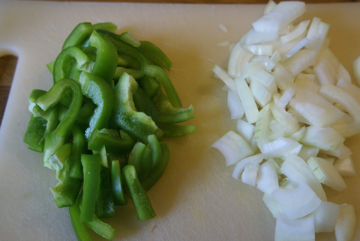 Chopped peppers and onions.
