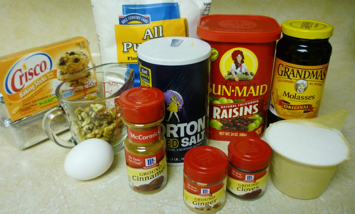 Here I have gathered the ingredients to make these raisin molasses sugar cookies (baking soda not shown).