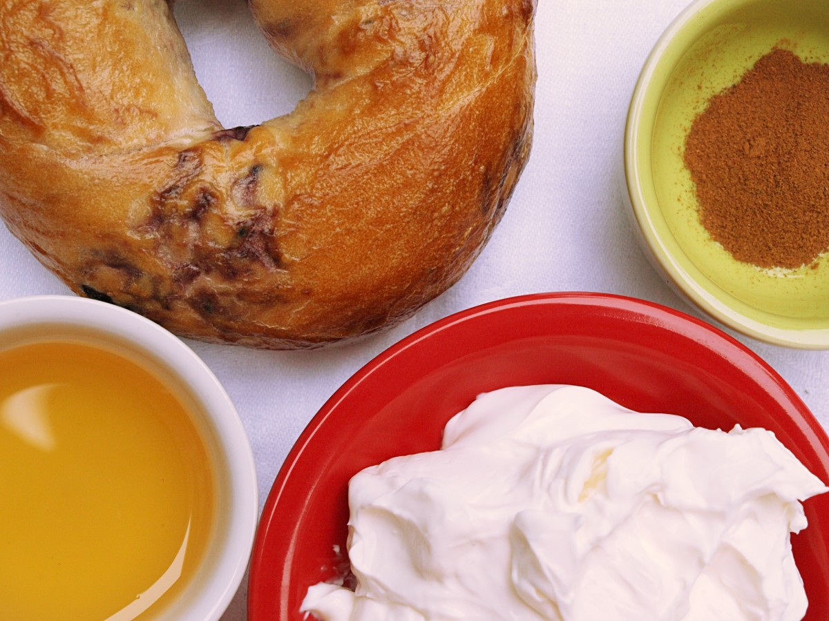Combine honey, cinnamon, and cream cheese for a delicious topping on a toasted bagel.