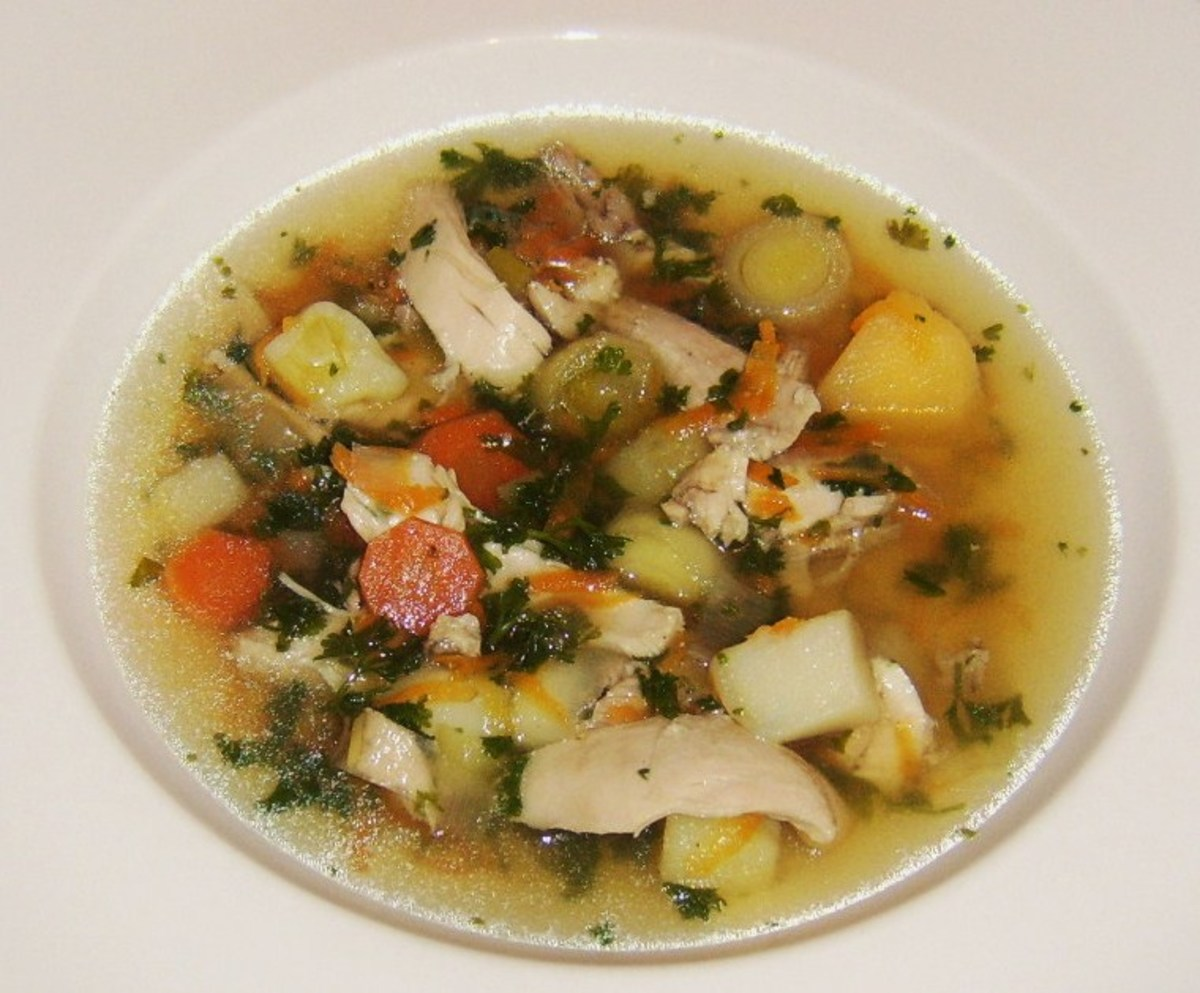 A hearty broth made with chicken thigh meat only and asssorted vegetables