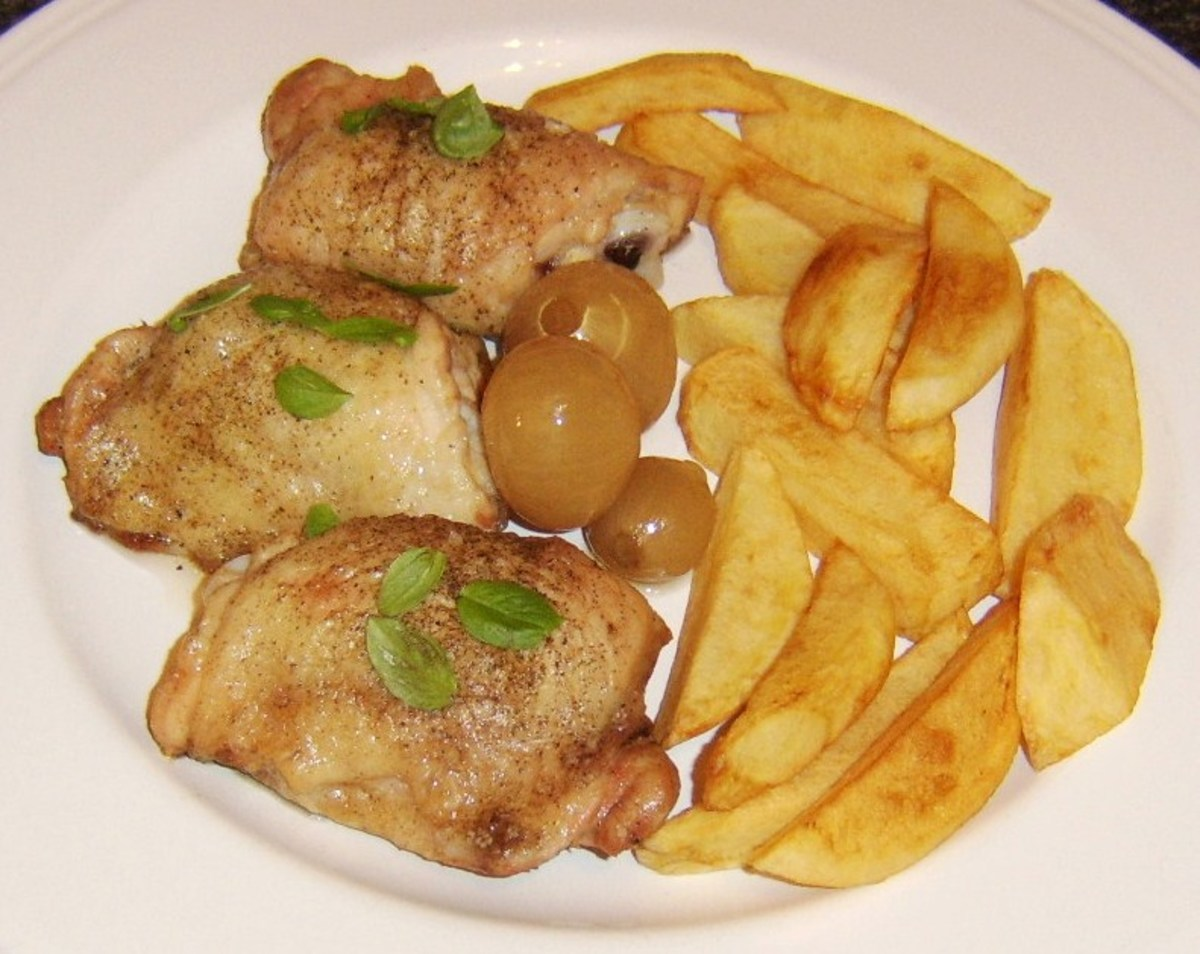 Simply roasted with homemade chips and pickled onions