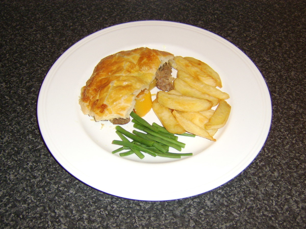 Lamb and turnip pie served with homemade chips and blanched green beans.