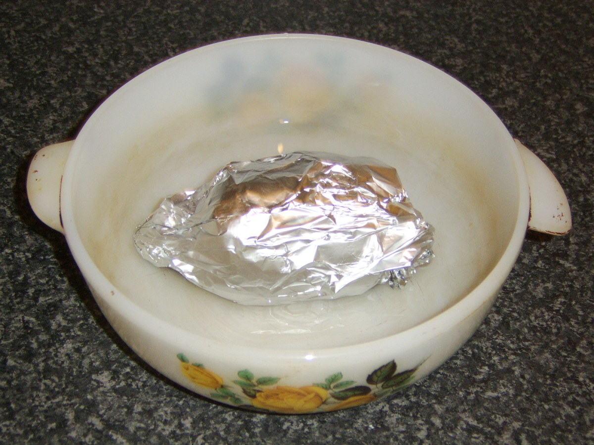 The haggis is wrapped in foil and cooked in a steam bath